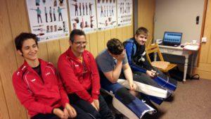 Lukas Walter, Frank Walter, Christian Langel und Tobias Longerich bei den Wettkampfvorbereitungen